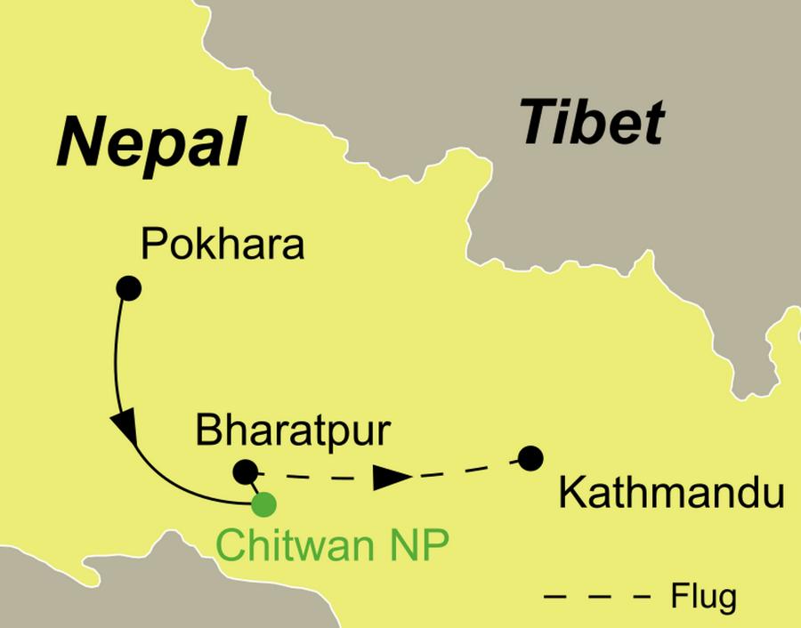 Reiseroute der Abenteuer Chitwan Nationalpark Rundreise führt von Pokhara über Chitwan Nationalpark bis nach Kathmandu