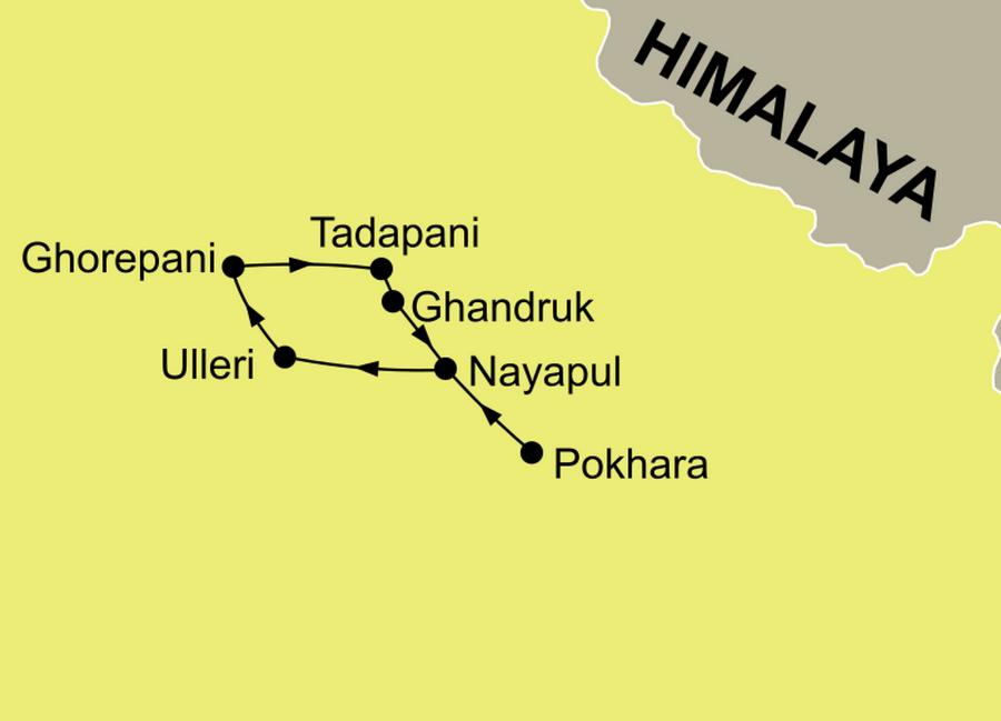 Die Reiseroute der Poon Hill Trekking Reise ab/bis Pokhara