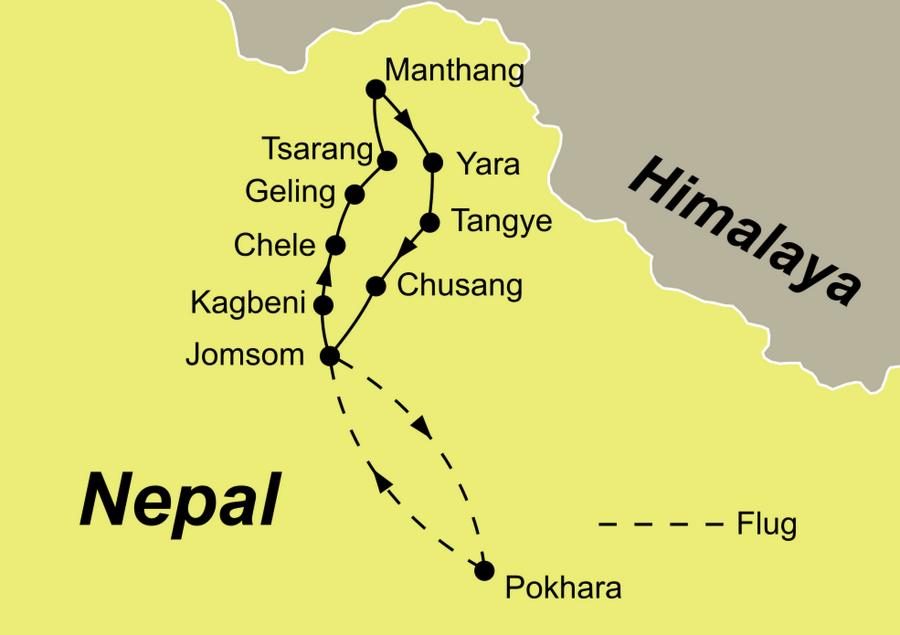 Die Reiseroute der Mustang Trekking Reise ab/bis Pokhara n Nepal