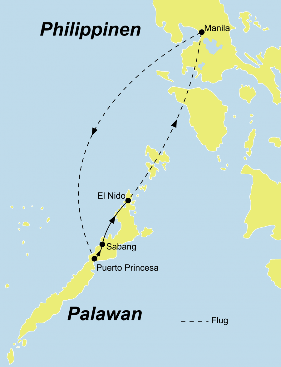Die Philippinen Rundreise führt von Manila über Puerto Princesa nach El Nido