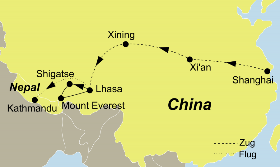 Die Tibet Rundreise führt von Shanghai über Xi´an - Xining - Lhasa - Shigatse nach Kathmandu