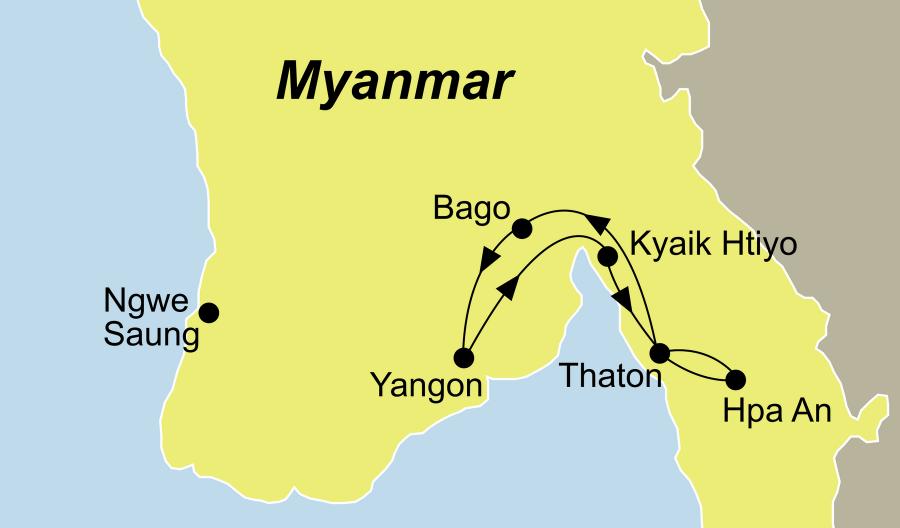 Die Myanmar Rundreise zum Golden Rock und Hpa An führt von Yangon über Golden Rock nach Yangon