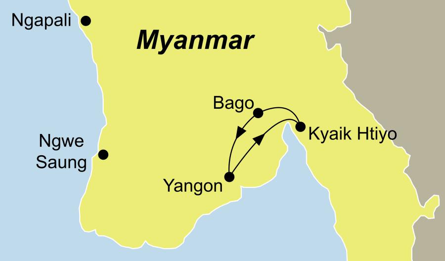 Die Myanmar- Ausflug zum Golden Rock Rundreise führt von Yangon über Kyaik Htiyo nach Yangon