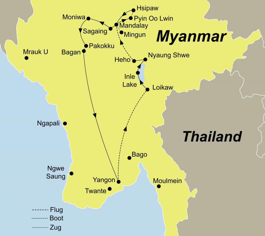 Die Myanmar Tour für Entdecker Rundreise führt von Yangon über Lake Inle über Bagan nach Yangon