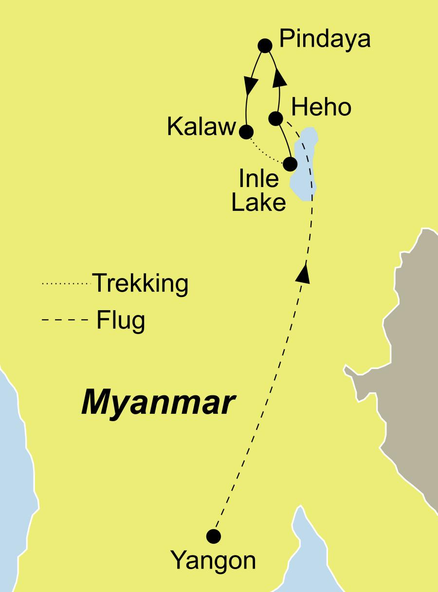 Die Myanmar Soft Trekking Rundreise führt von Yangon über Pindaya nach Heho
