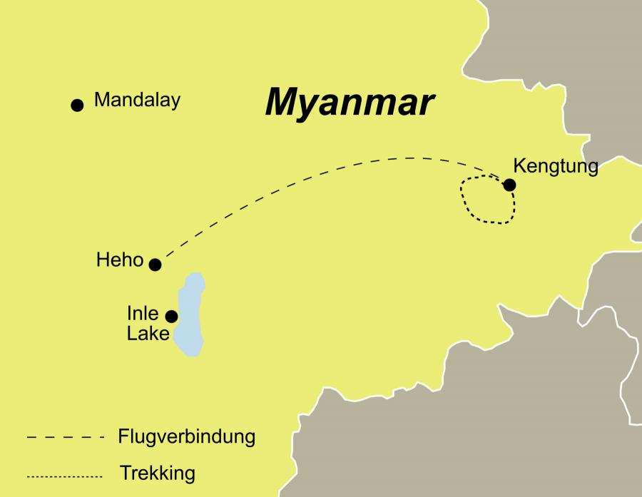 Die Myanmar Trekking Rundreise führt von Kengtung nach Heho