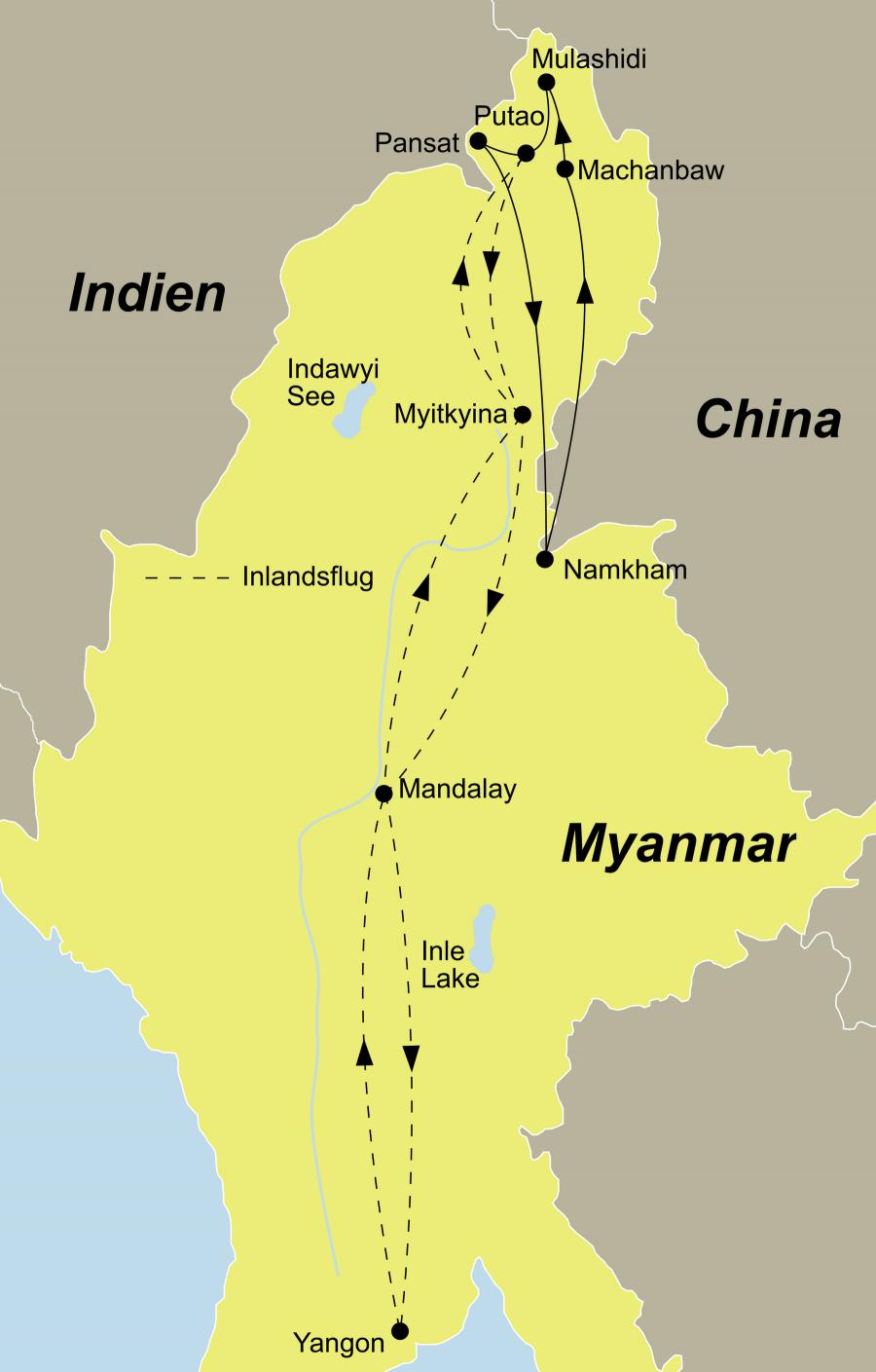 Die Myanmar Trekking Rundreise führt von Yangon über Pansat nach Putao