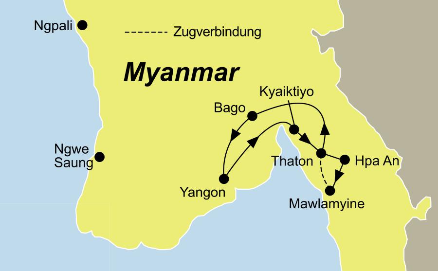 Die Rundreise der faszinierende Süden Myanmars führt von Yangon über Hpa An nach Yangon