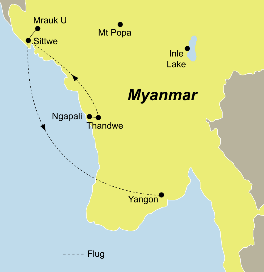 Die Myanmar Rundreise ins Königreich Rakhine führt von Ngapali über Mrauk U nach Yangon