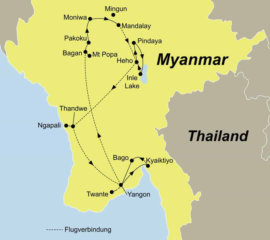 Die Myanmar Hautnah erleben Rundreise führt von Yangon über Bagan und Mandalay nach Yangon