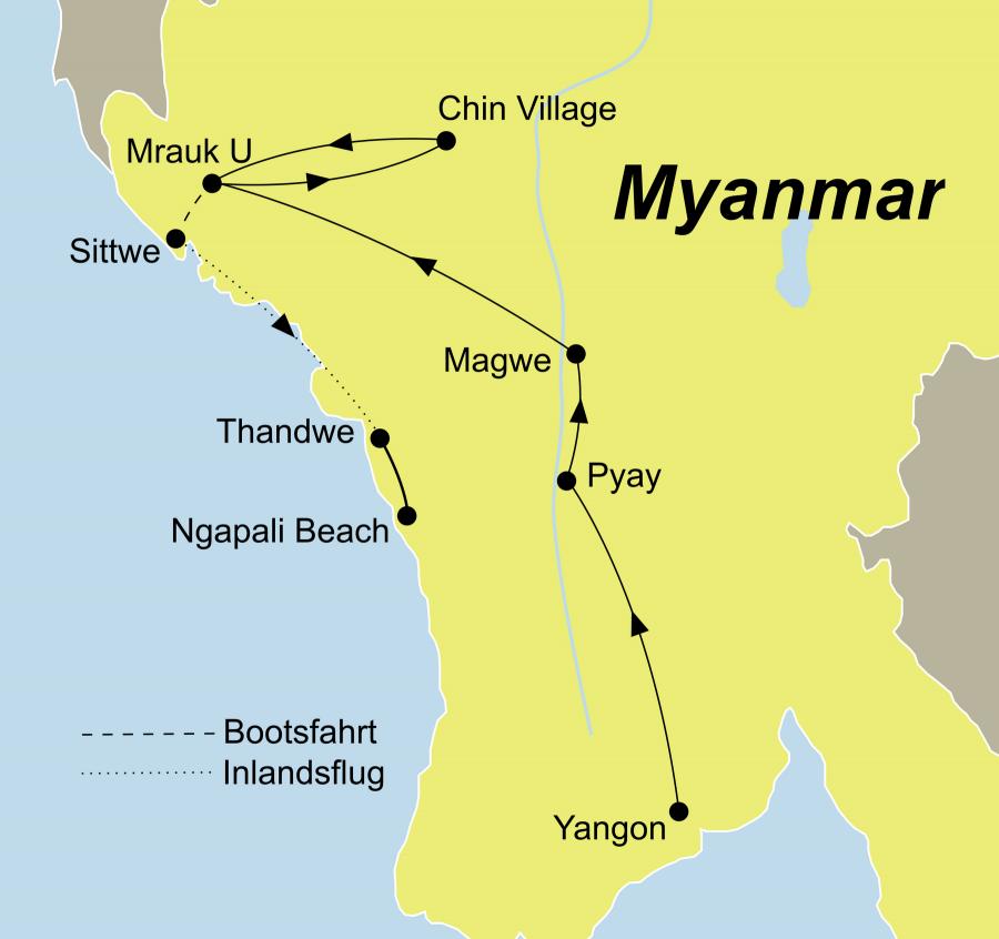 Die Geheimnisvolles Myanmar Rundreise führt von Yangon über Pyay und Sittwe nach Ngapali Beach