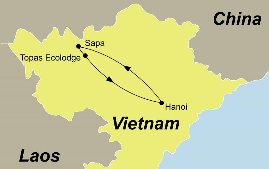 Die Reiseroute unserer Sapa Vietnam Tour führt von Hanoi über Sapa zurück nach Hanoi.
