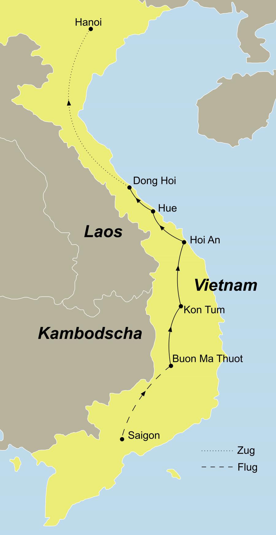 Die Vietnam Rundresie führt von Saigon über Buon Ma Thuot – Kon Tum – Hoi An – My Son – Hue – Phong Nga Nationalpark nach Hanoi.
