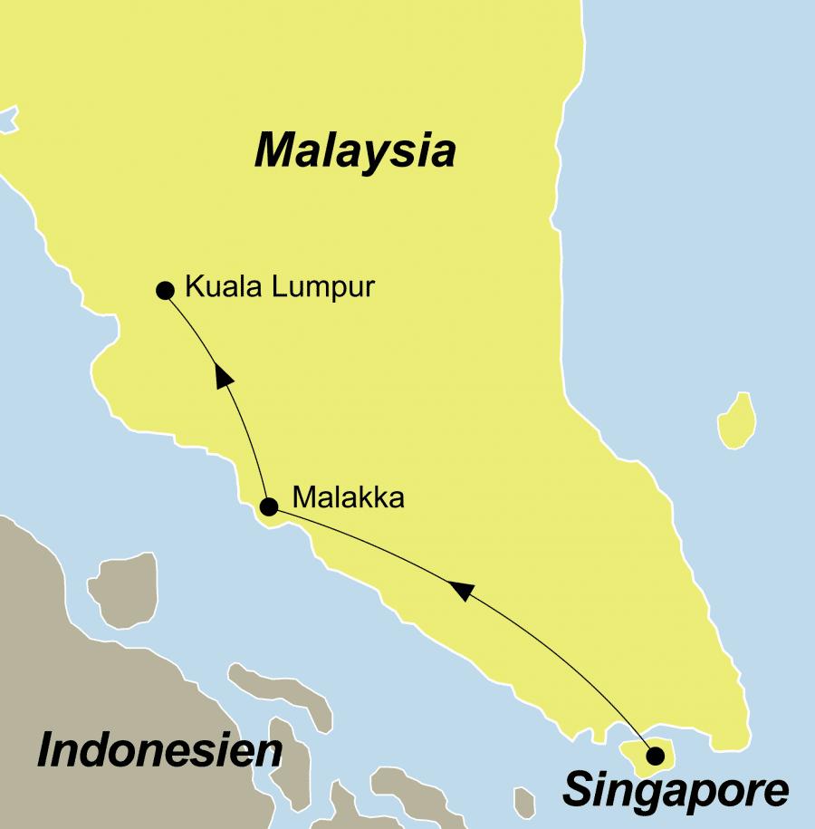 Die Malakka historische Highlights führt von Singapur über Malakka nach Kuala Lumpur