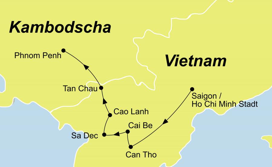 Der Reiseverlauf zu unserer Vietnam Kambodscha Reise startet in Saigon und endet in Siem Reap.