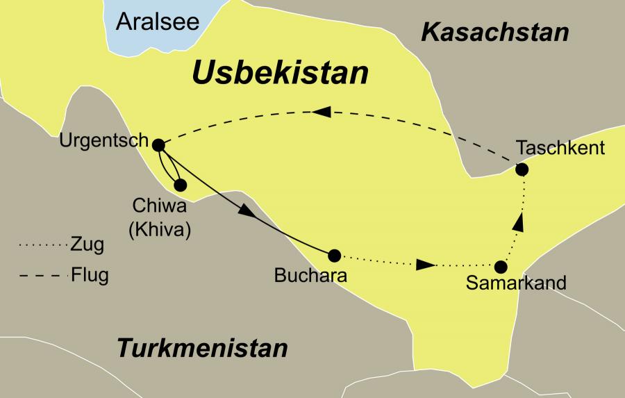 Die Erlebnisreise Usbekistan Rundreise führt von Taschkent über Urgench nach Samarkand