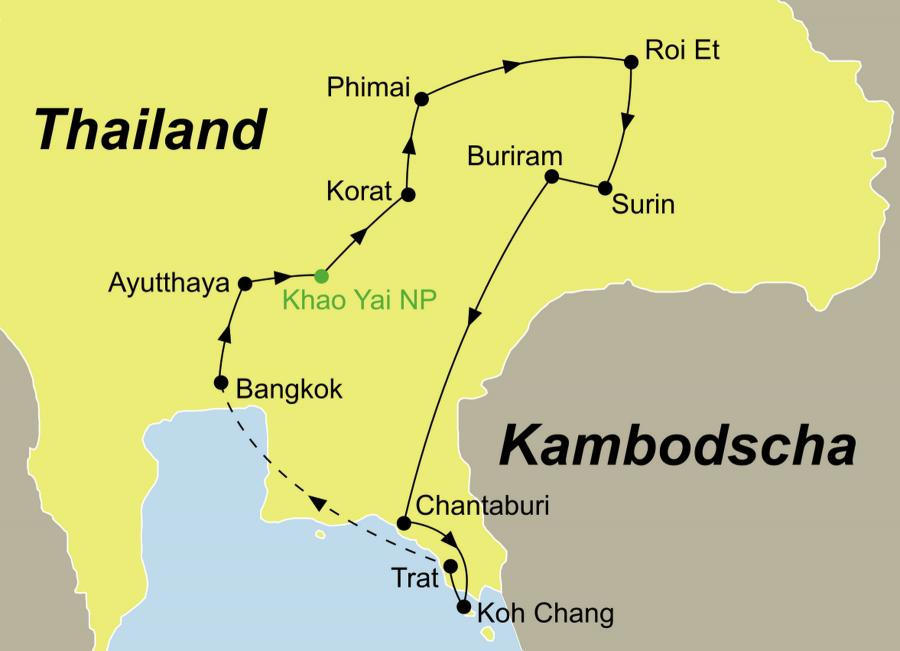 Der Reiseverlauf zu unserer Thailand Reise fürht von Bangkok über Ayutthaya - Khao Yai Nationalpark – Korat – Phimai – Roi Et – Surin – Buriram – Chantaburi nach Koh Chang