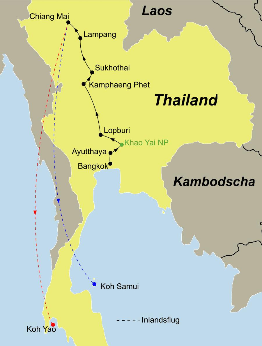 Der Reiseverlauf zu unserer Thailand Reise führt von Bangkok über Ayutthaya – Khao Yai – Lopburi – Khamphaeng Phet – Sukhothai – Lampang – Chiang Mai nach Koh Samui oder Koh Yao