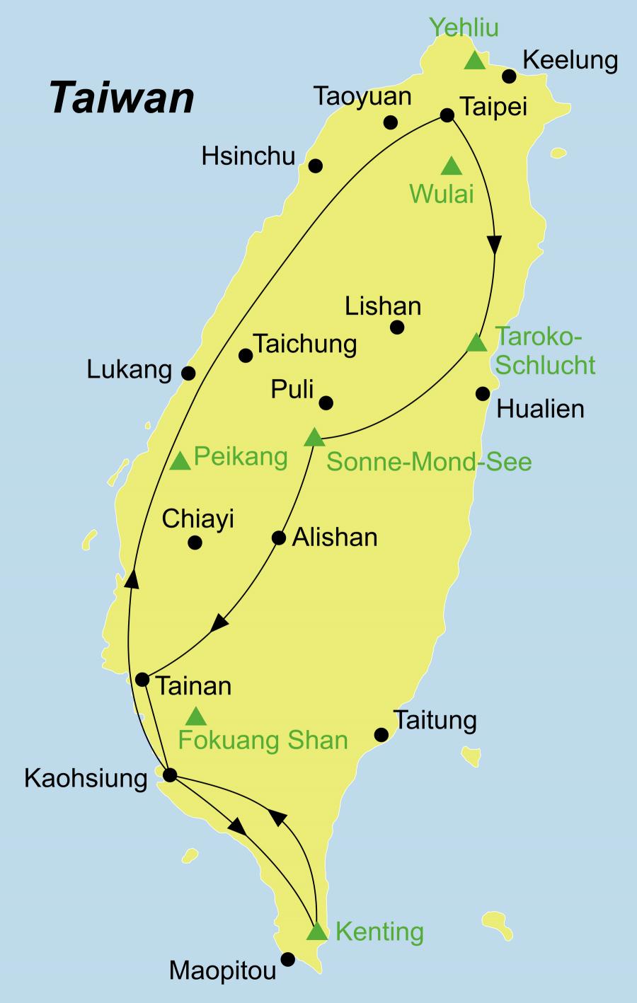 Die Taiwan individuell Rundreise führt von Taipeh (Taipei) über Taroko, Sonne-Mond-See, Alishan, Tainan, Kaohsiung, Kenting Nationalpark zurück nach Taipei (Taipeh).