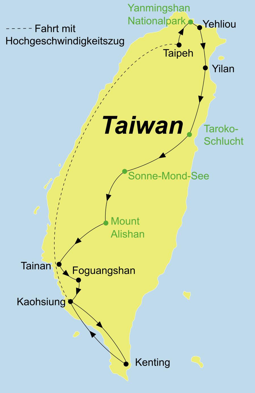 Die Best of Taiwan Rundreis führt von Taipeh über Taroko Nationalpark, Sonne-Mond-See, Tainan, Foguangshan Kloster, Kaohsiung, Lukang zurück nach Taipeh.