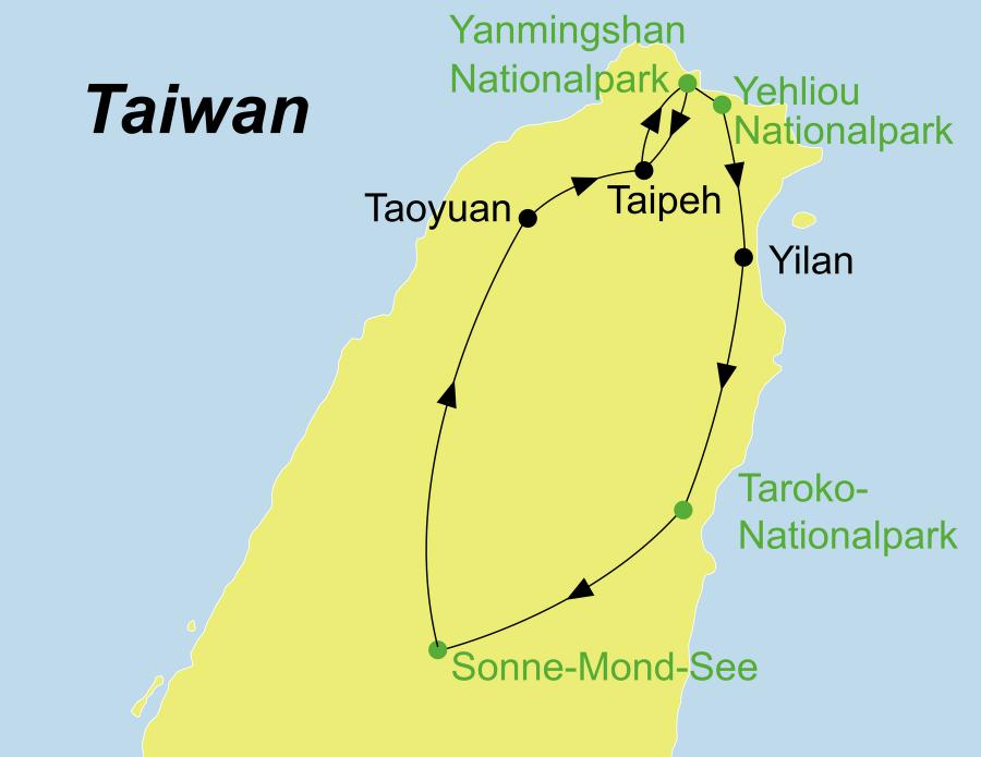 Dei Wandern Taiwan Rundreise führt von Taipeh über Yangmingshan Nationalpark, Yeliou Nationalpark, Taroko Nationalpark Hehuanshan Berg zum Sonne-Mond-See.