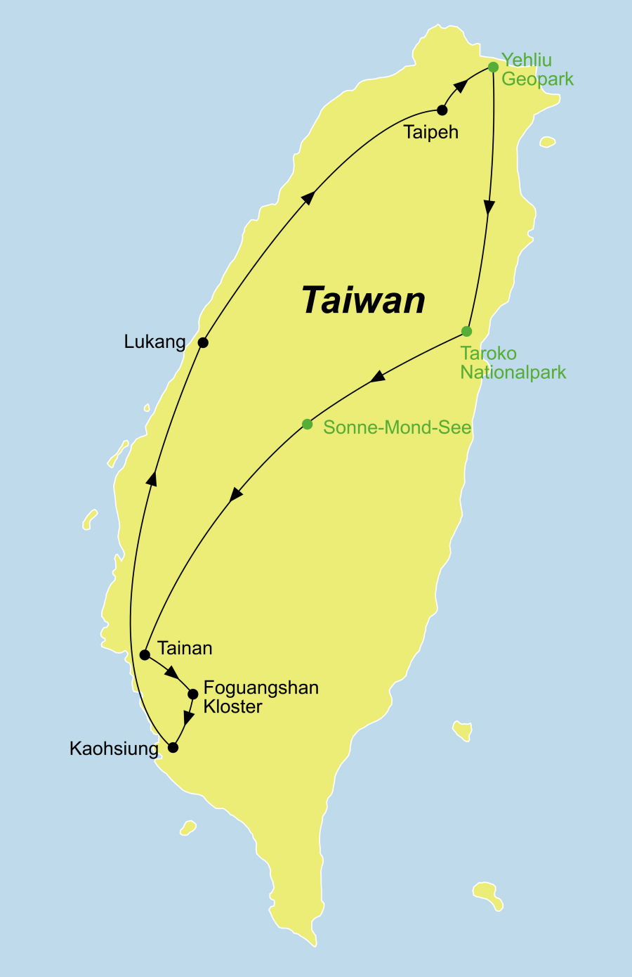Die Taiwan kompakt Rundreise führt von Taipeh über den Tarolo Nationalpark, den Sonne-Mond-See, Tainan, das Foguangshan Kloster, Kaoshiung und Luhang zurück nach Taipeh.