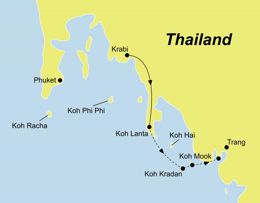 Die Thailand Rundreise führt von Krabi über Koh Lanta, Koh Kradan und Koh Mook zurück nach Krabi oder nach Trang.