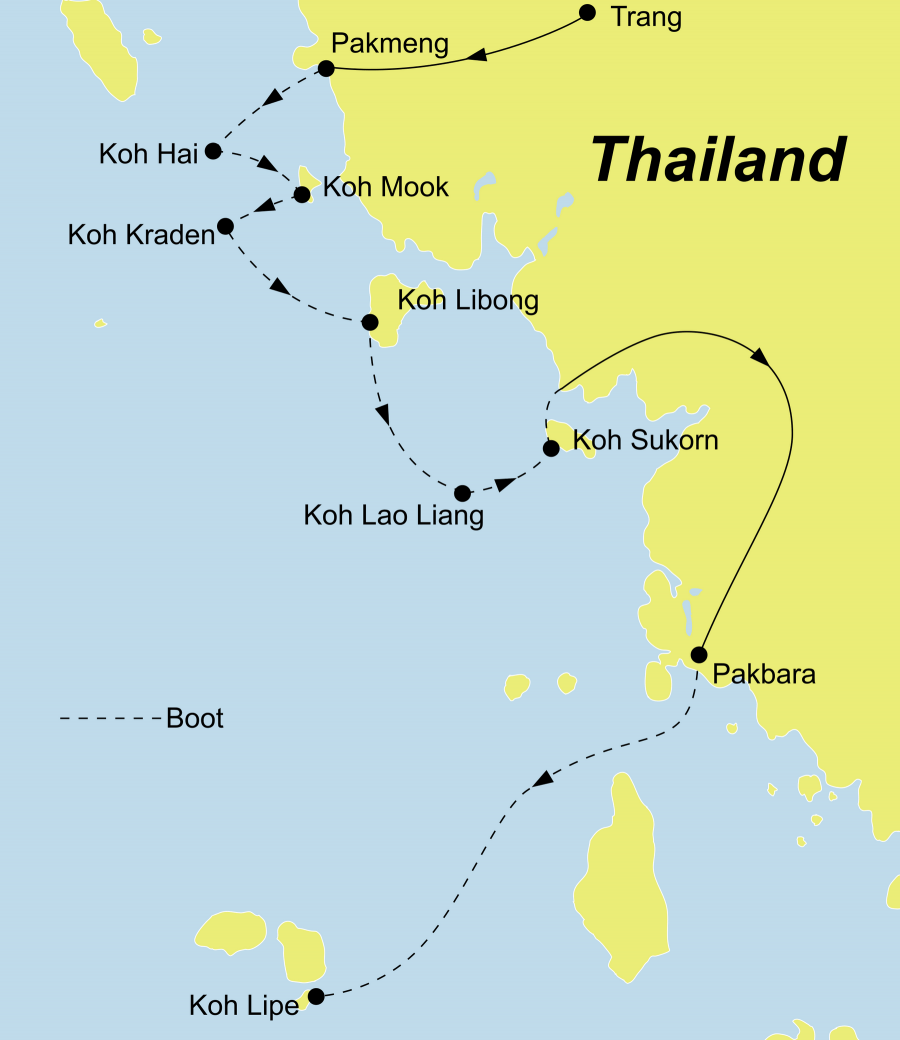 Die Thailand Rundreise führt von Trang oder Krabi über Pakmeng, Koh Hai, Koh Mah, Koh Cheuk, Koh Mook, Koh Kradan, Koh Libong, Koh Takiang, Koh Laoliang, Koh Sukorn, Koh Lipe und Pakbara zurück nach Trang oder nach Hat Yai.