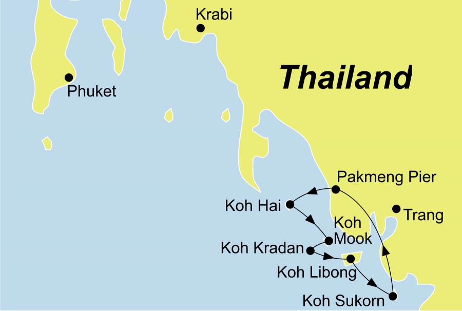 Die Thailand Rundreise führt von Trang oder Krabi über Koh Hai, Koh Mah, Koh Cheuk, Koh Mook, Koh Libong und Koh Sukorn wieder zurück zum Ausgangspunkt.
