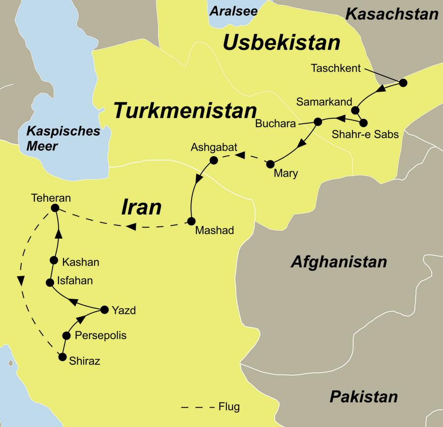 Die geheimnisvolle Seidenstraße Rundreise führt von Usbekistan über Turkmenistan in den Iran