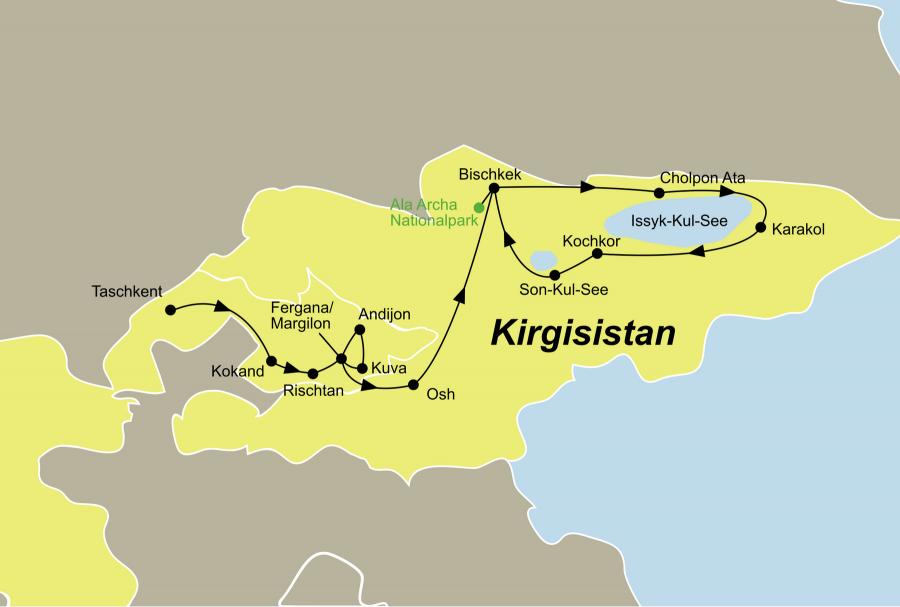 Die Kirgistan entdecken Rundreise führt von Taschkent über Kokand in den Ala Archa Nationalpark