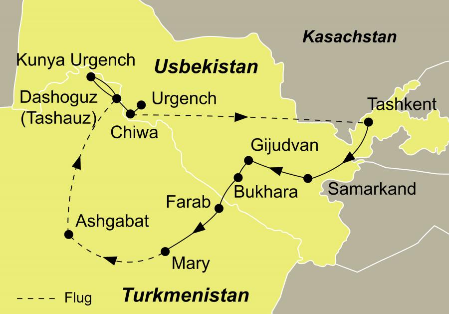 Die Usbekistan und Kirgistan Kombi Rundreise führt von Taschkent über Buchara nach Fergana und Bischkek