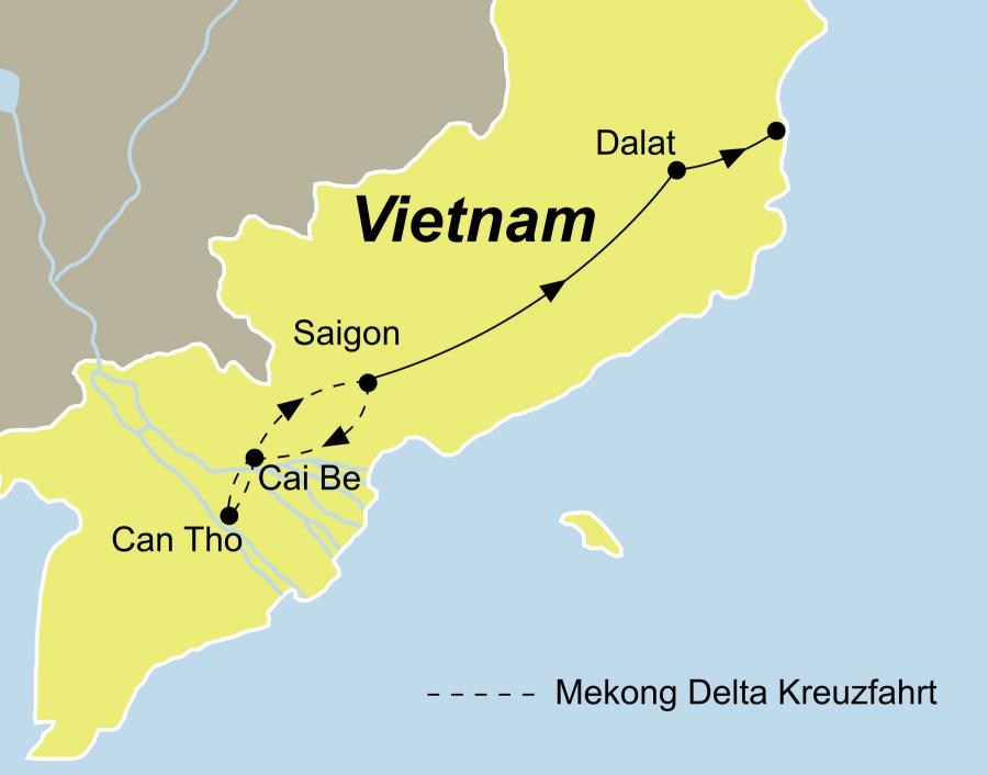 Der Reiserverlauf zu unserer Vietnam Reise - Vietnam entdecken startet in Saigon und endet in Nha Trang (alternative Phan Thiet/Mui Ne).