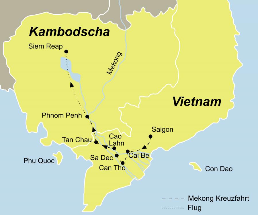 Der Reiseverlauf zu unserer Vietnam Kambodscha Reise startet in Saigon und endet in Siem Reap