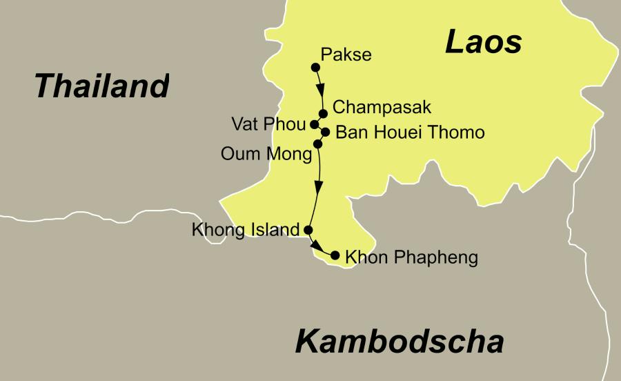 Die Reiseroute der Laos Mekong Flusskreuzfahrt führt von Pakse über Champasak, Vat Phou, Ban Houei Thomo, Oum Mong, Khong Island, Khone Island und Khon Phapheng wieder zurück nach Pakse.