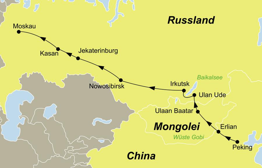 Der Reiseverlauf zu unserer Transsib Zarengoldreise startet in Moskau und endet in Peking