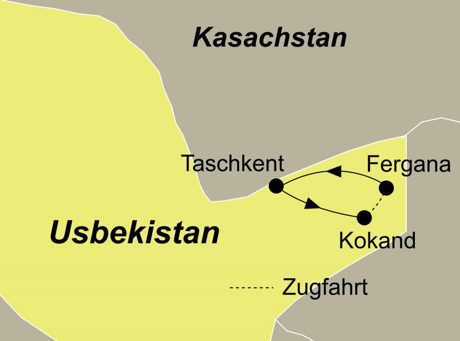 Die Zauberhafte Ferghana Rundreise führt von Taschkent über Kokand nach Fergana