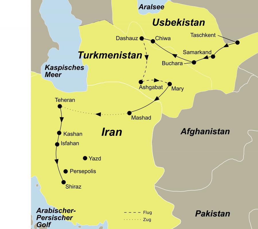 Die Seidenstraße von Zentralasien nach Persien Rundreise führt von Usbekistan über Turkmenistan in den Iran