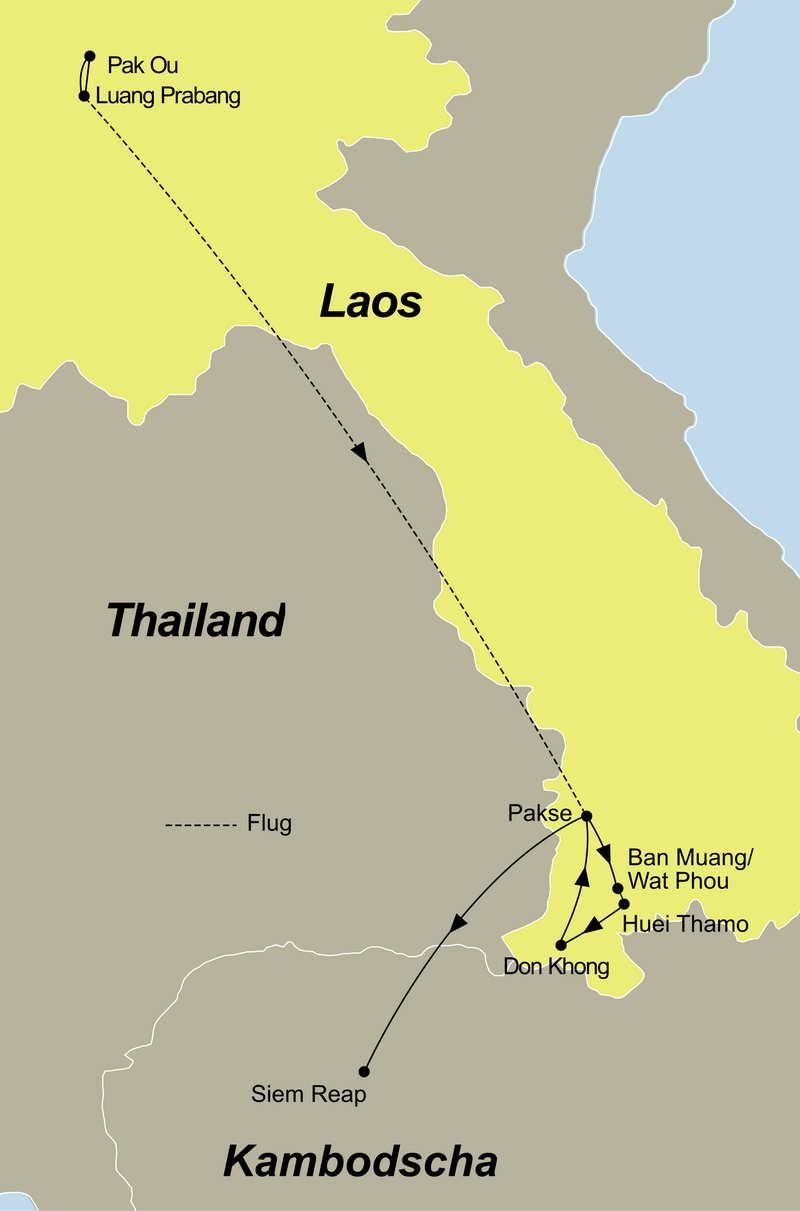 Die Reiseroute der Laos Rundreise mit Kreuzfahrt führt Sie von Luang Prabang über Pakse nach Siem Reap