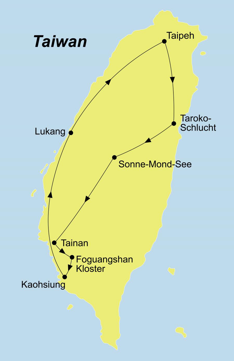 Der Reiseverlauf zu unserer Taiwan Rundreise führt von Taiphe über Sonne-Mond-See über Lukang.