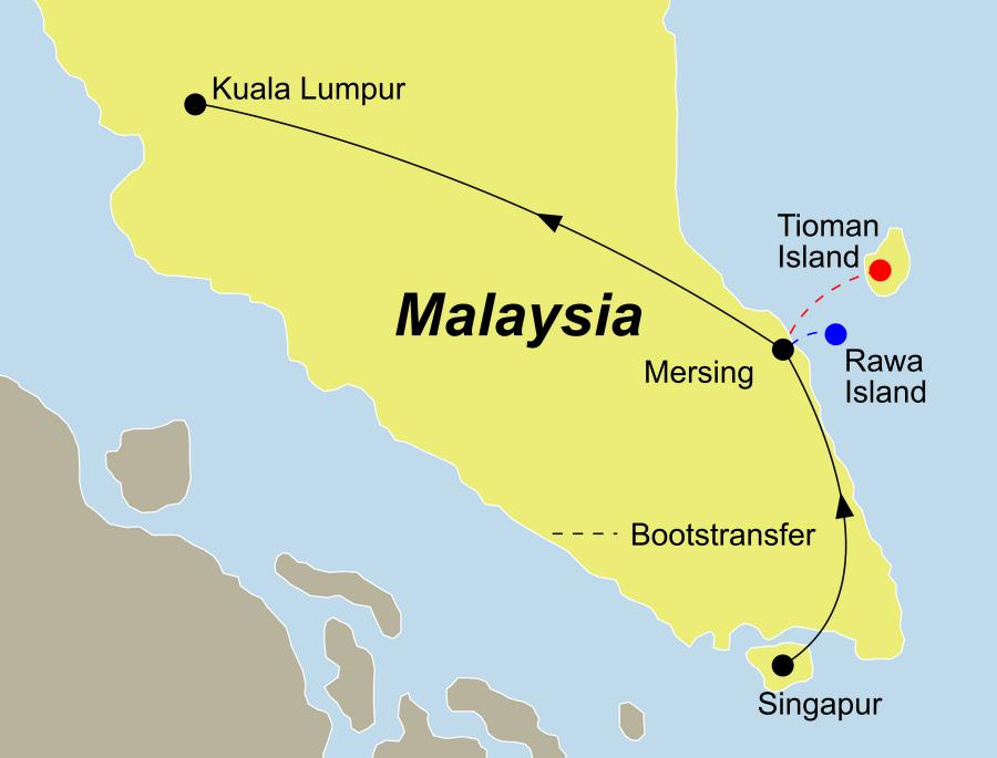 Die Reise Asien pur führ von Singapur über die Trauminsel Tioman oder Rawa bis nach Kuala Lumpur