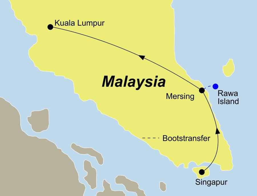 Die Reise Asien pur führt von Singapur über die Trauminsel Rawa Island bis nach Kuala Lumpur.