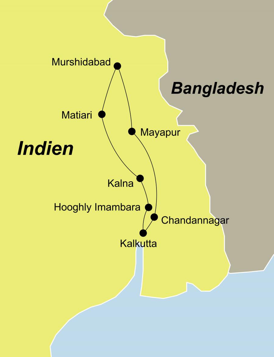 Der Reiseverlauf unserer Ganges Schiffsreise Indien Flusskreuzfahrt auf dem Ganges beginnt und endet in Kalkutta oder endet bei Verlängerung in Delhi.