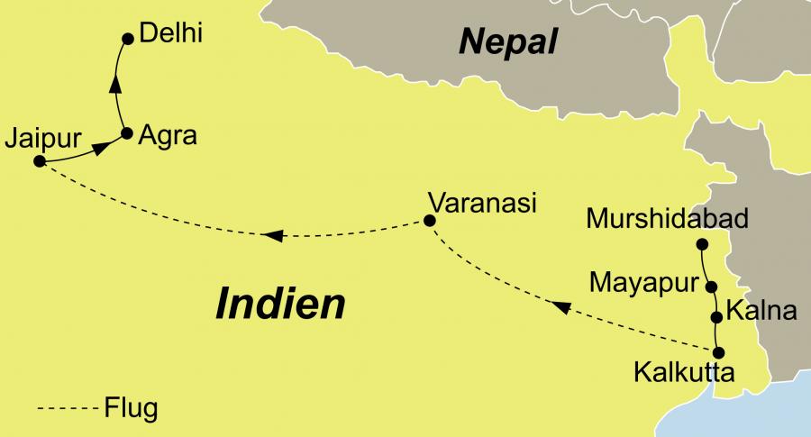Der Reiseverlauf zu unsrer Indien Flusskreuzfahrt Ganges startet in Kalkutta und endet in Delhi