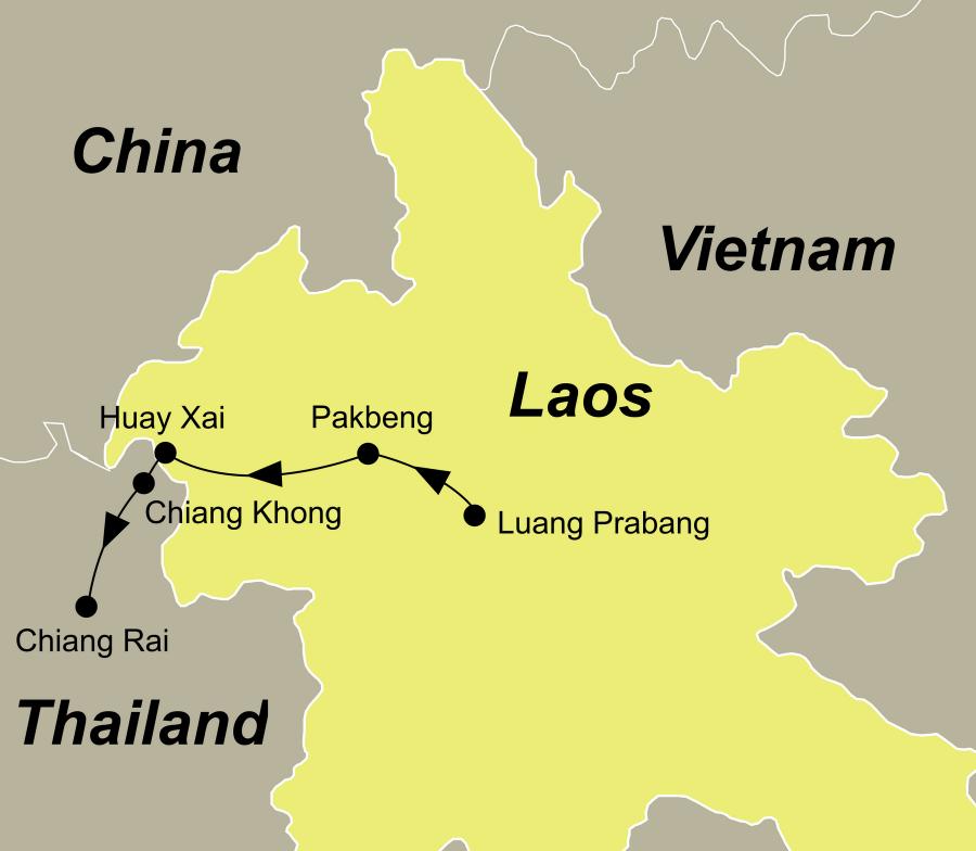 Die Thailand Laos Mekong Cruise führt von Chiang Rai über Chiang Khong, Huay Xai und Pakbeng nach Luang Prabang.