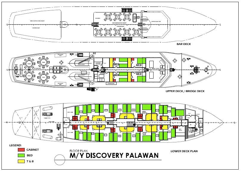 """Das Kreuzfahrtschiff """"Discovery Palawan"""" verfügt über insgesamt 20 Gästekabinen, 16 davon auf dem Unterdeck sowie 4 auf dem Oberdeck."""