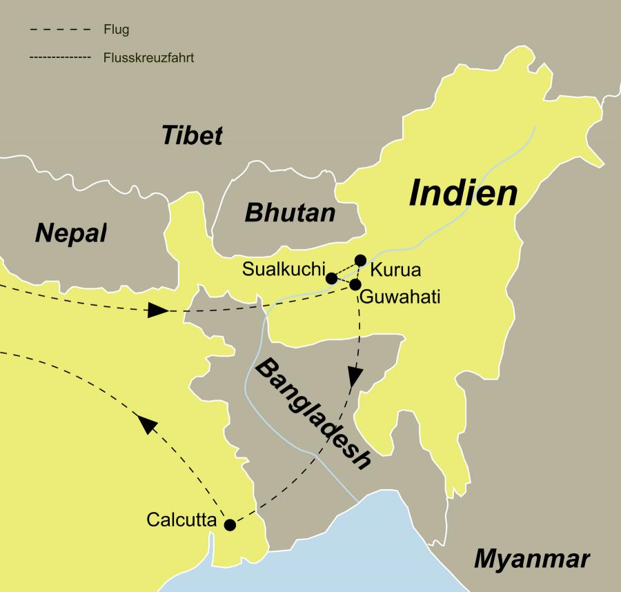 Der Reiseverlauf zu unserer Indien Reise Brahmaputra Flusskreuzfahrt startet in Delhi und endet in Kalkutta