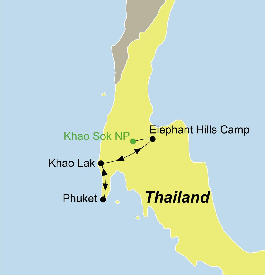 Der Reiseverlauf zu unserer Thailand Reise Dschungelerlebnis Khao Sok startet in Phuket und endet in Khaolak.