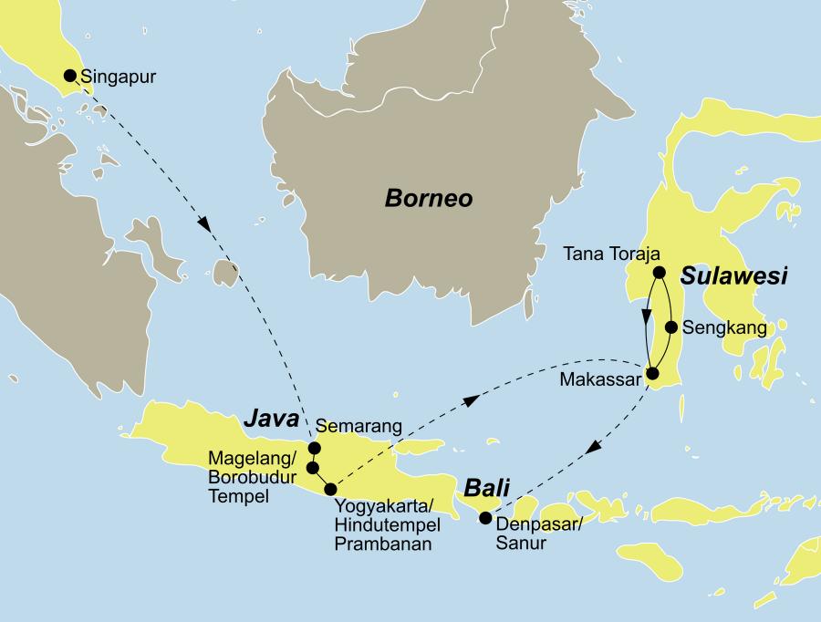 Die Reise Singapur & indonesische Inseln führt von Singapur über Java und Sulawesi nach Bali