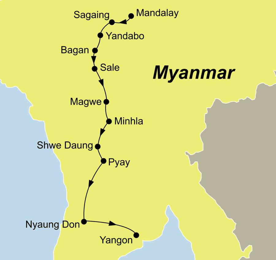 Die Myanmar Flusskreuzfahrt führt von Mandalay auf dem Ayeyarwady nach Yangon